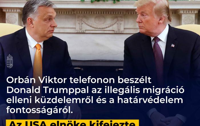 Orbán Viktor telefonon beszélt Donald Trumppal az illegális migráció elleni küzdelem…