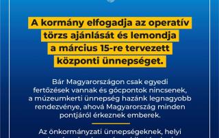 A kormány elfogadja az operatív törzs ajánlását és lemondja a március 15-re tervezet…