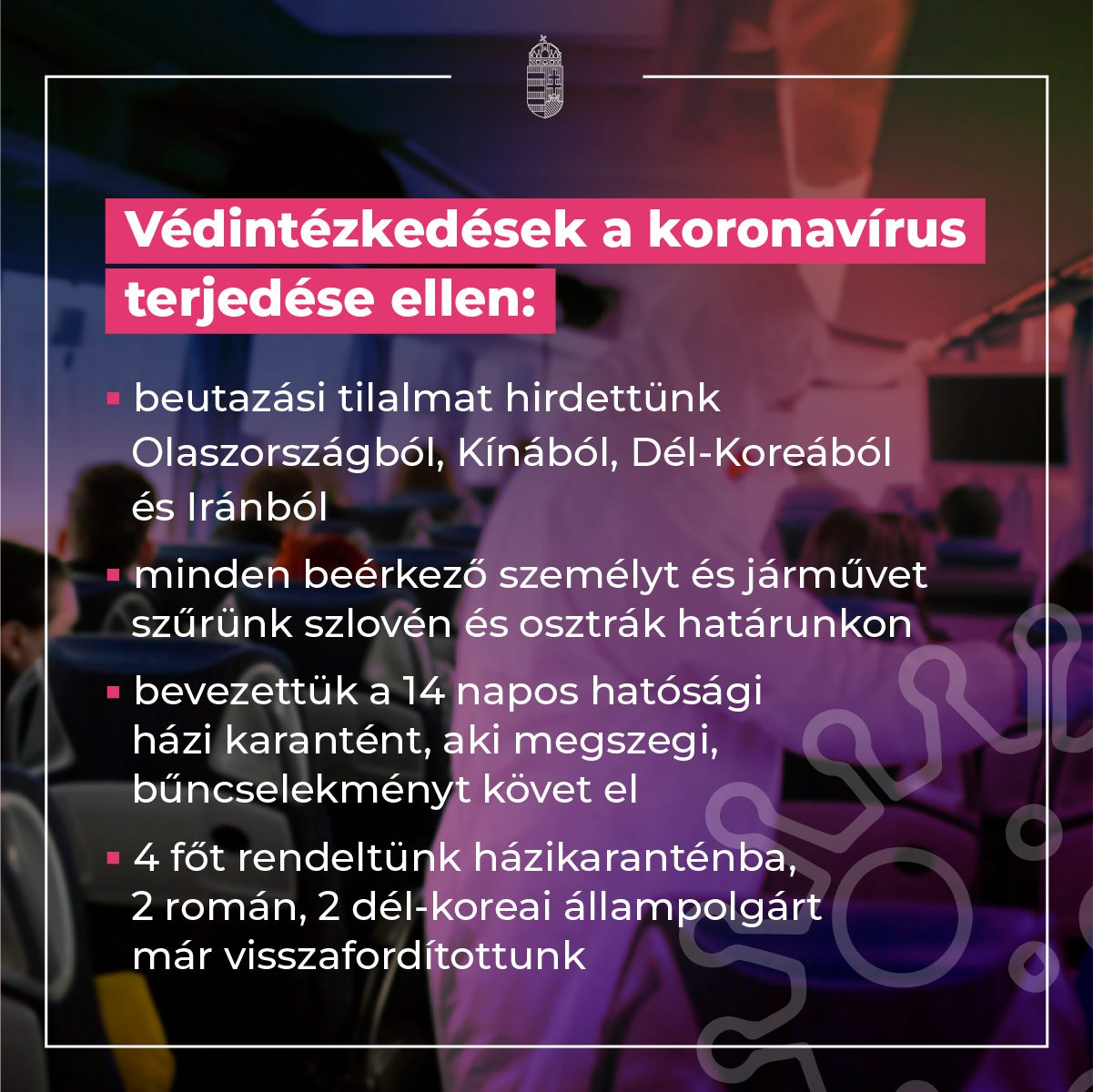 Védintézkedések a koronavírus terjedése ellen.