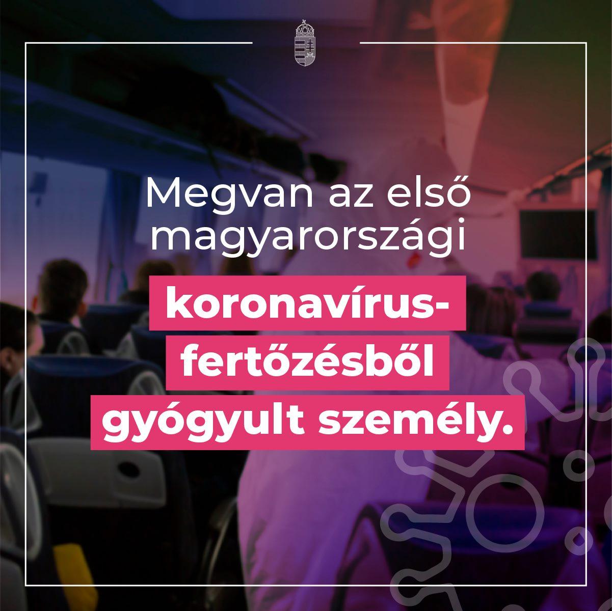 Megvan az első magyarországi koronavírus-fertőzésből gyógyult személy.